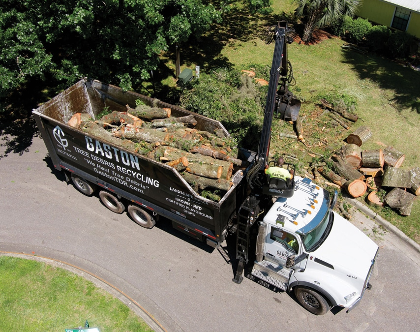 Gaston's Tree Debris Recycling aerial shot of truck